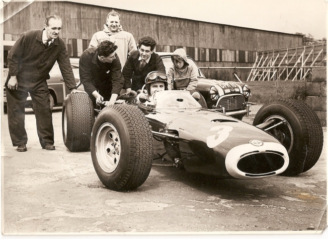 Graham Hill testing the BRM P261 at Silverstone